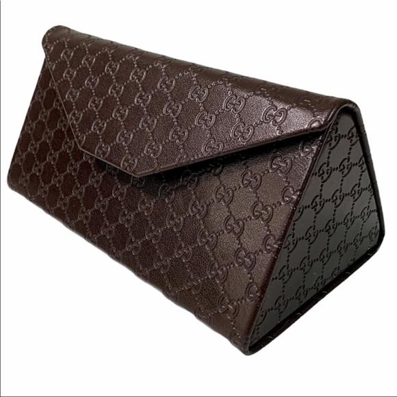 GUCCI (A) GG Monogram Brown Glass Case -3.5x6x3.5